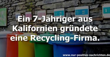 7-Jähriger gründet Recycling-Firma