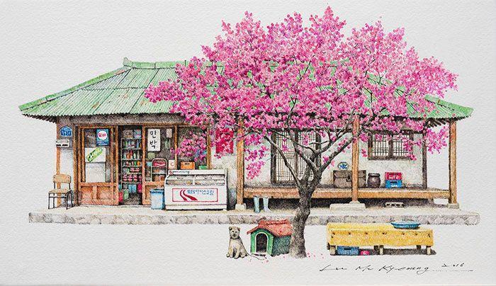 Künstlerin zeichnet seit 20 Jahren Kioske - zauberhafte Skizzen aus Südkorea
