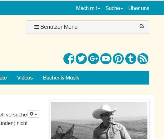 Das Benutzermenü erscheint nach dem Einloggen auf der rechten Seite in Logo-Höhe