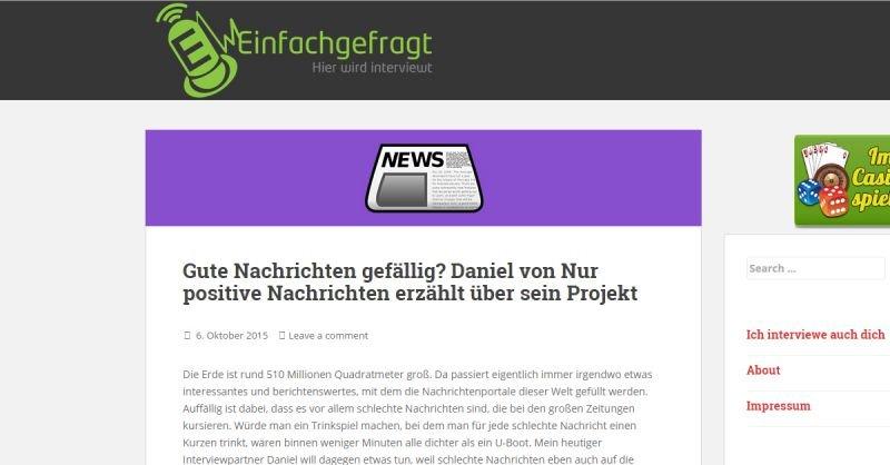 Gute Nachricht - Interview mit einfachgefragt.com