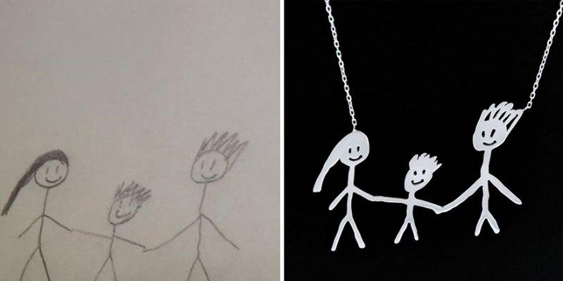 Kinderzeichnungen in Schmuck   Quelle: http://tasarimtakarim.com/