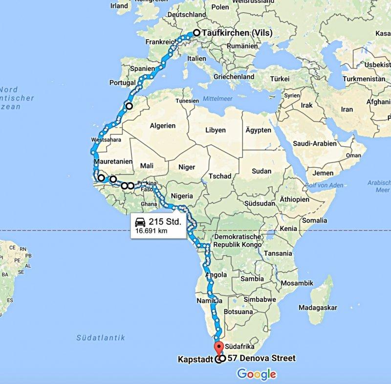 Rein ins Leben - Geplante Route nach Südafrika