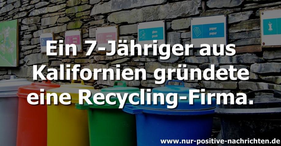 7-Jähriger gründet Recycling-Firma (Video)